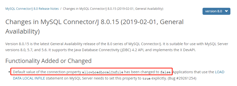 Changes in MySQL Connector/J 8.0.15